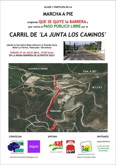 Cartel Marcha apertura carril  Junta Los Caminos, Miha