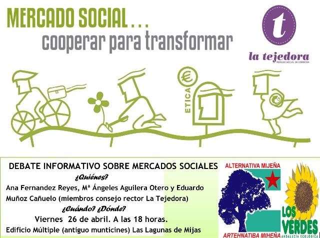 Cartel charla AM+Q Mercao Social La Tejedora. Lah Lagunah 26-4-13