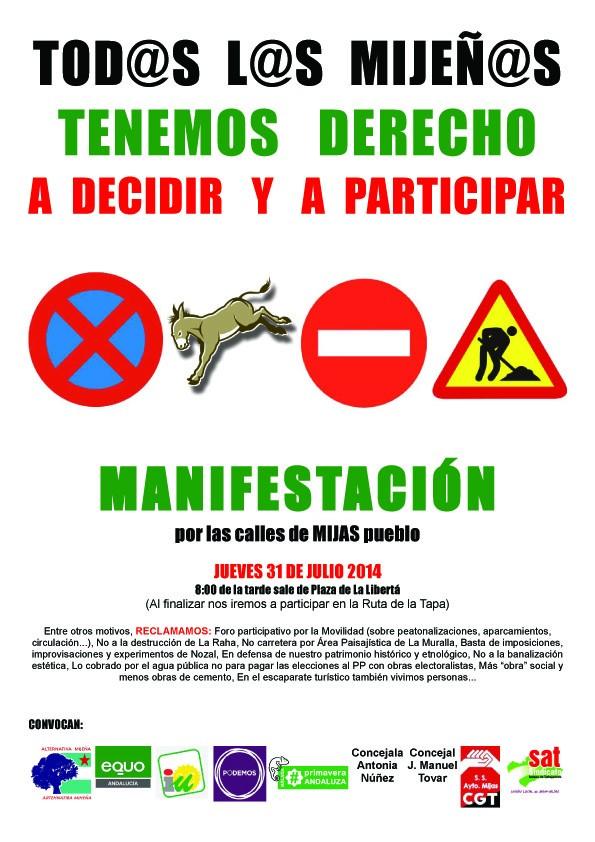Cartel MANIFESTACION Tod@s mijeñ@s derecho a participar. 31-7-14a