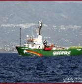 El barko'e Greenpeace en lah z'aguah miheñah enkontra'e lah prohperzioneh