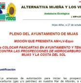 Moción AM+LV-Equo para colocar pancartas en Ayuntamiento contra prospecciones petróleo-gas en Mijas y la Costa del Sol