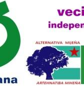 MIJAS GANA. Multi-logo de la coalición electoral + vecin@s independientes