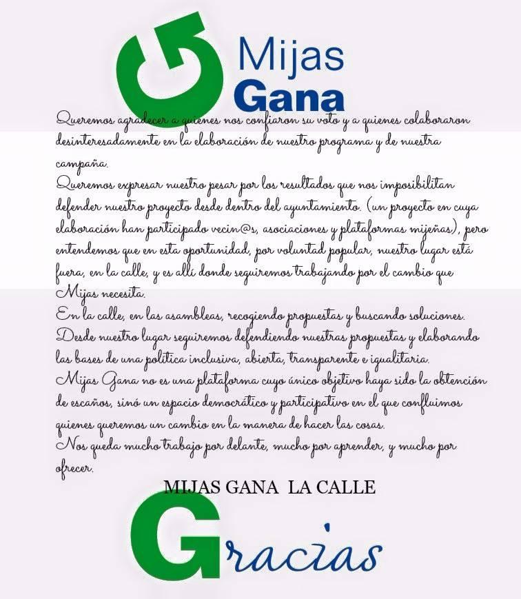 Comunicado Mijas Gana resultados electorales 2015
