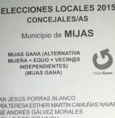 CANDIDATURA DE MIJAS GANA: Lista de candidat@s