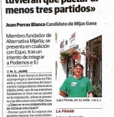 """Sur: """"Juan Porras Blanco: Me gustaría que tuvieran que pactar al menos tres partidos"""""""