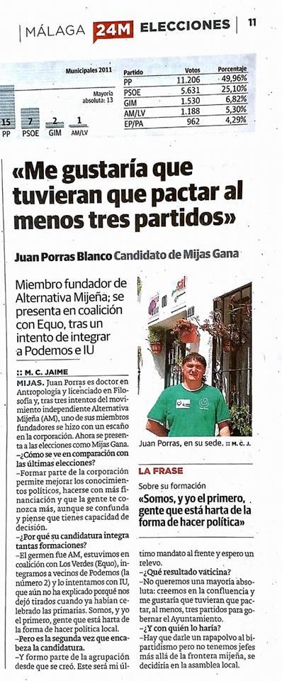 Candidato de Mijas Gana en SUR, 16-5-15