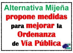 Alternativa Mijeña propone medidas para mejorar la Ordenanza de Vía Pública